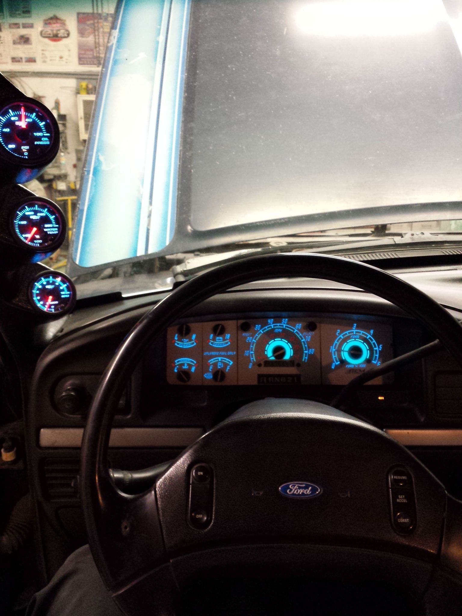 Glowshifts Bem Performace Led Gauges In My 1993 Ford F350 Big Blue Ford Pickup Trucks Ford Diesel Ford Excursion Diesel
