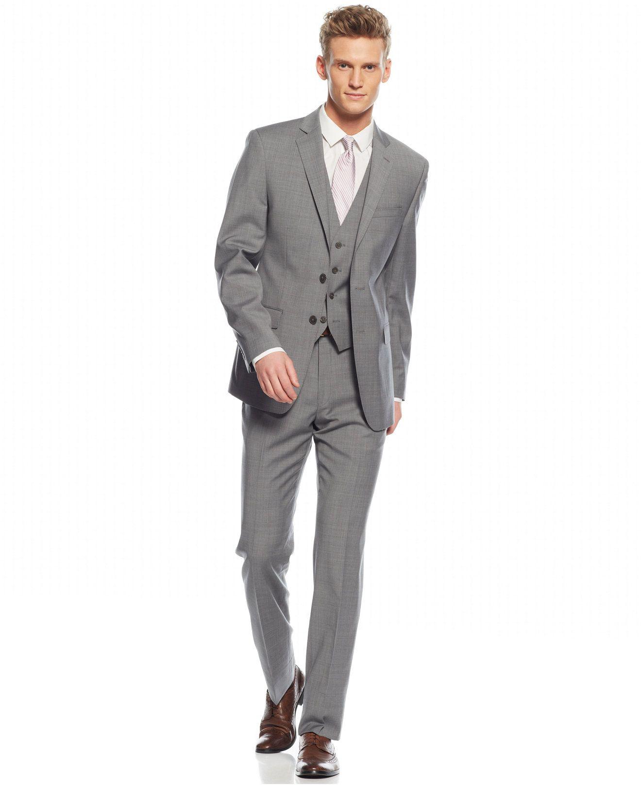Calvin Klein Grey Plaid Vested Slim-Fit Suit - Suits & Suit ...