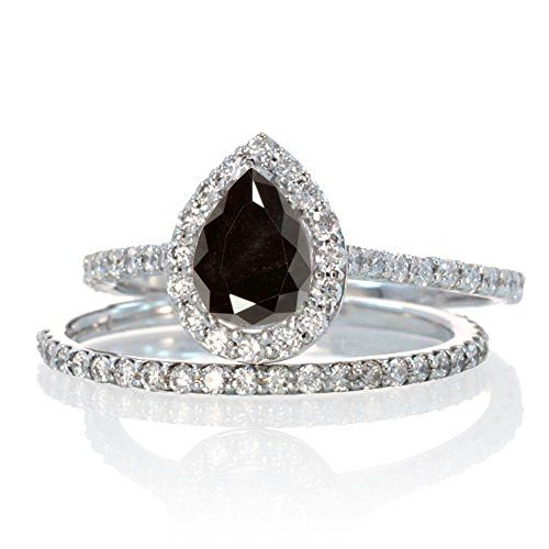 2 Carat Pear Cut Black Diamond Halo Bridal Set for Woman on 10k