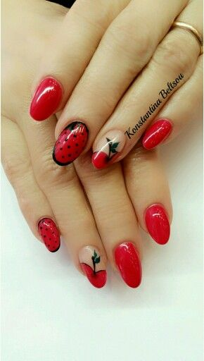 Long Red Acrylic Nails With Nail Art Apple And Dots Nails By