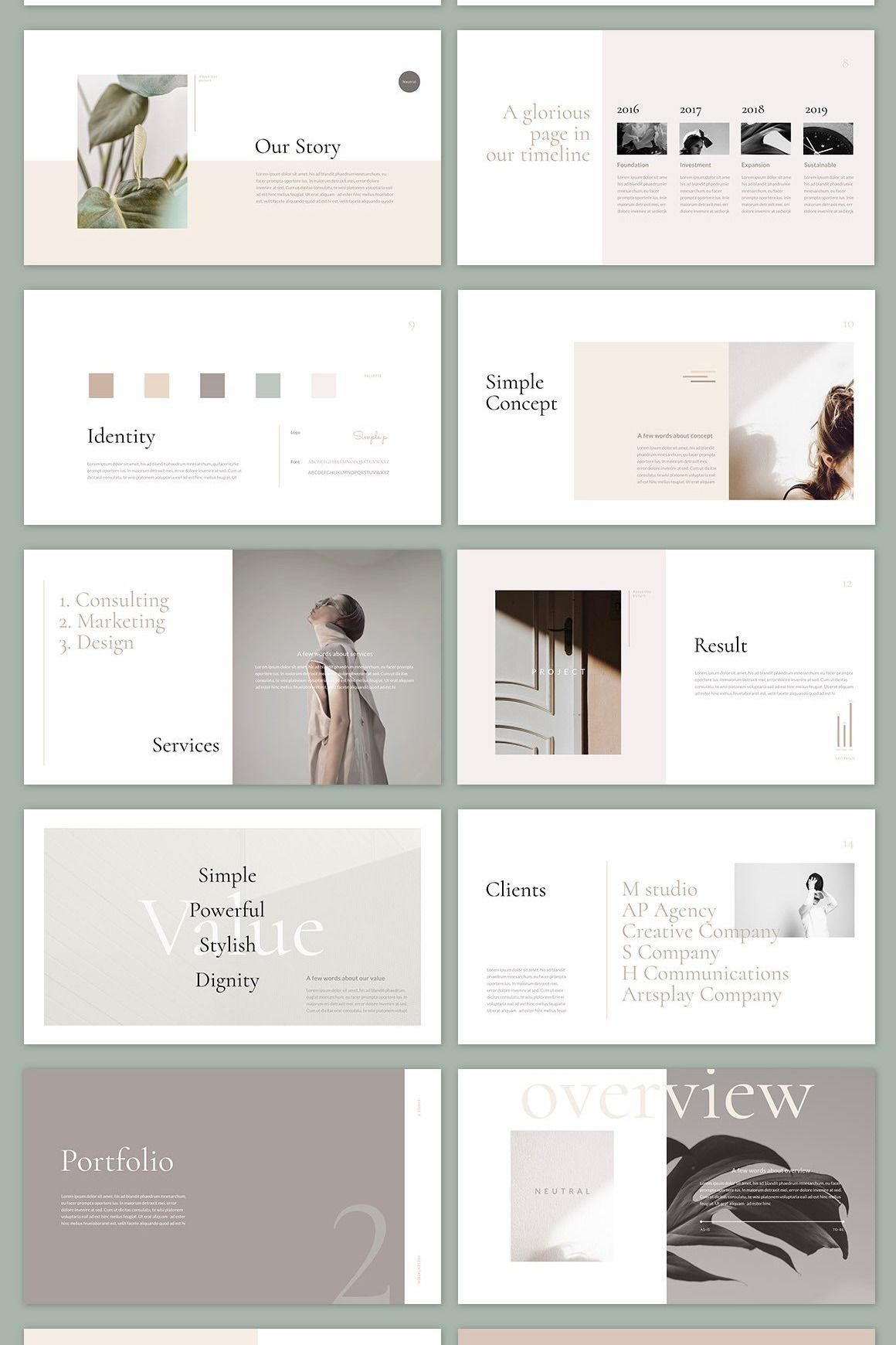 Neutral PowerPoint Template by Simple P.