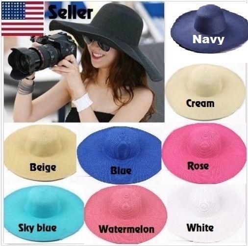 1fc5da0b2d18c Women s Fashion Summer Beach Large Wide Brim Foldable Floppy Sun Straw Hat