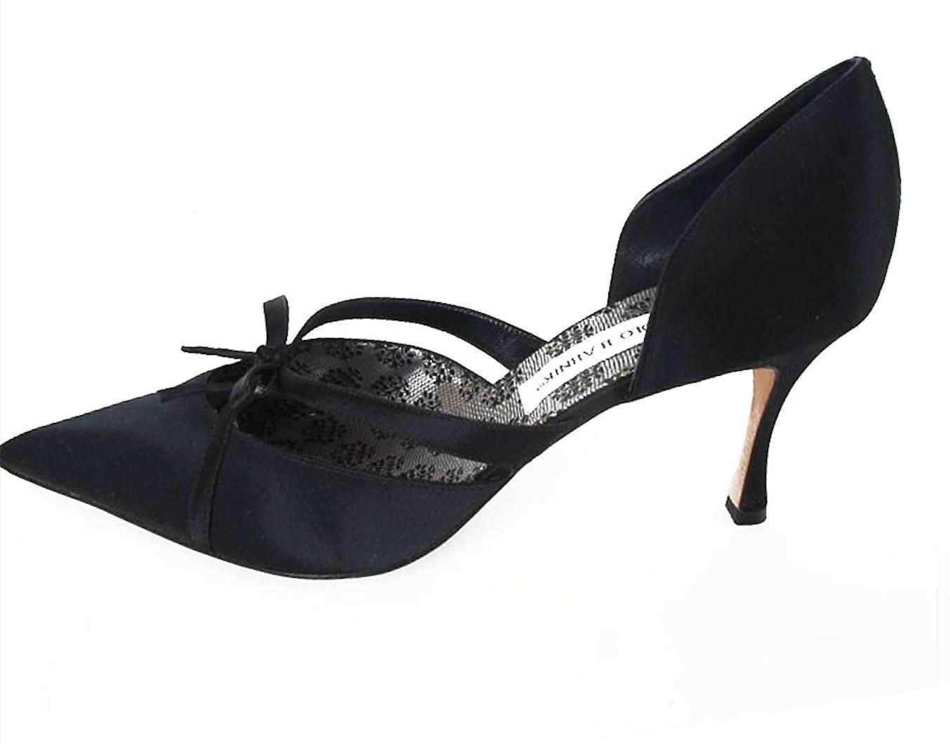88cd412089a NEW Manolo Blahnik 1950 s Inspired Black Satin Evening Shoes 2 ...