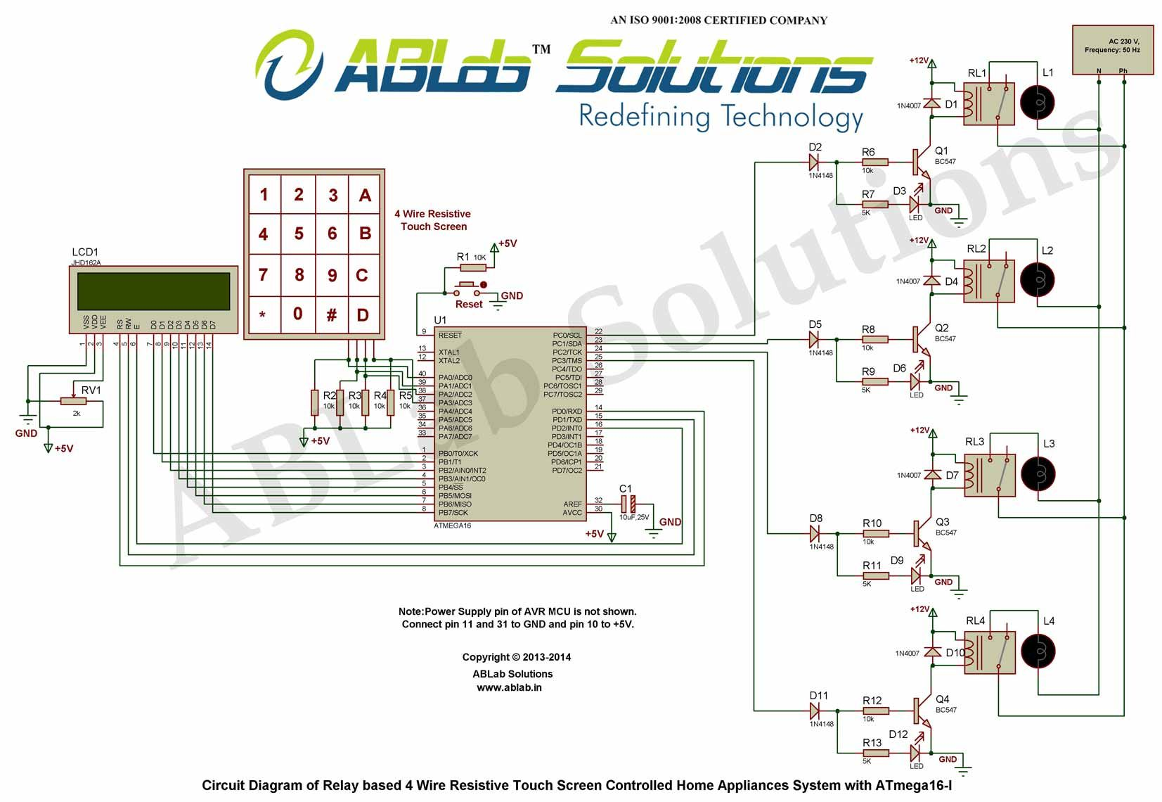 relay based 4 wire resistive touch screen controlled home appliances system with avr atmega16 microcontroller i circuit diagram [ 1653 x 1140 Pixel ]