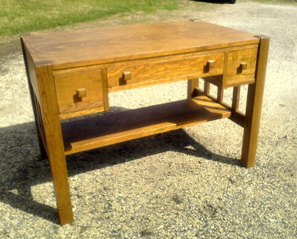 Antique Quartersawn Tiger Oak Mission Library Table Circa 1930 Library Table Tiger Oak Mission Library