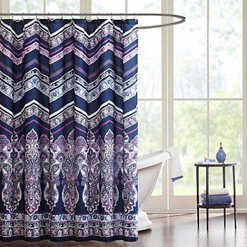 Intelligent Design Kinley Shower Curtain Purple Shower Curtain