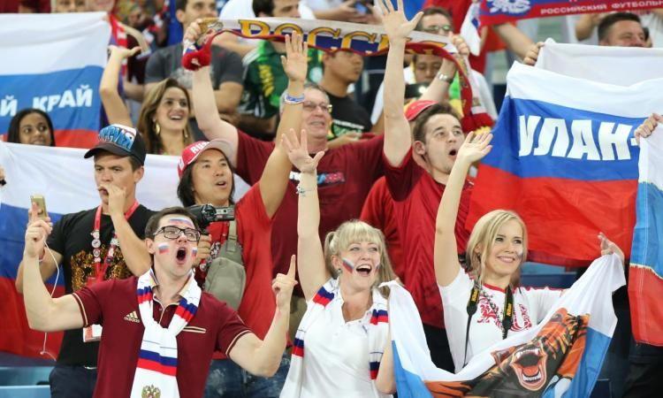 Hinchas de la Federación Rusa en Brasil 2014.