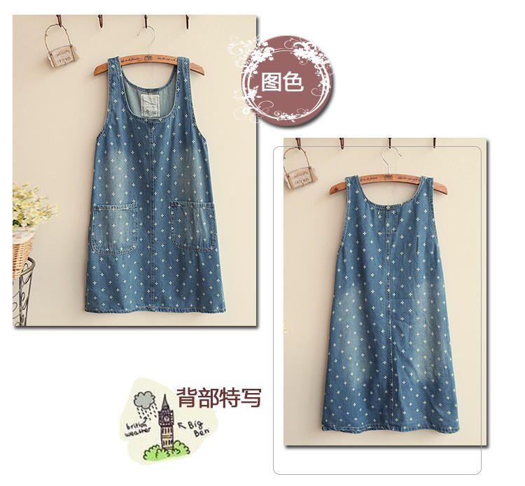 Floral Denim Jumper Dress, Denim Blue , One Size - Fairyland | YESSTYLE
