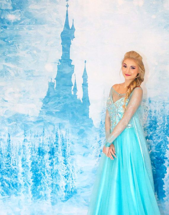 Elsa Frozen Castle Party Backdrop Princess Theme By Fabdrops