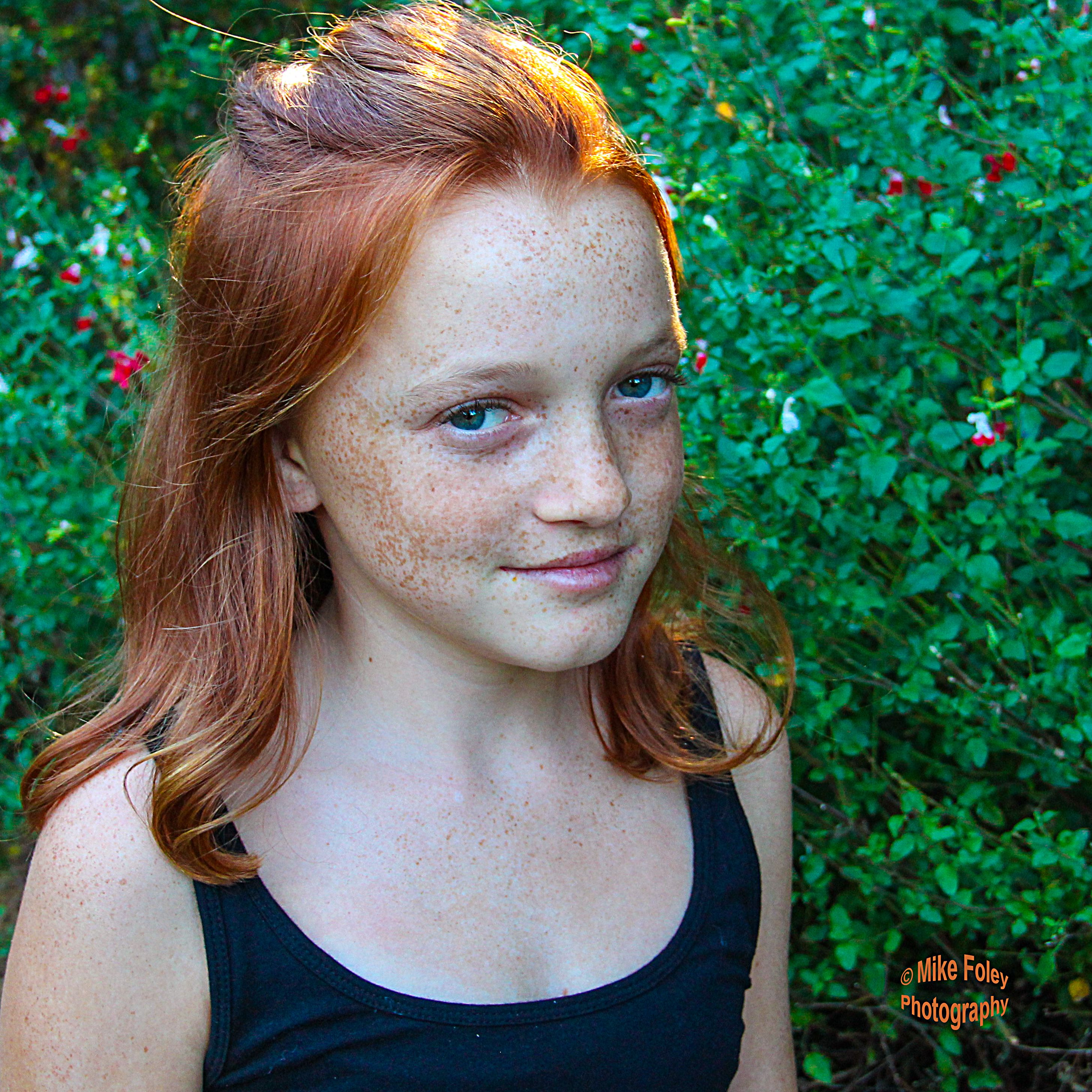 Ginger Girl Pre Teen Bright Redhead Freckles On Alabaster Skin 12 Twelve Year Old Model With Blue Eyes Mike Foley Photography