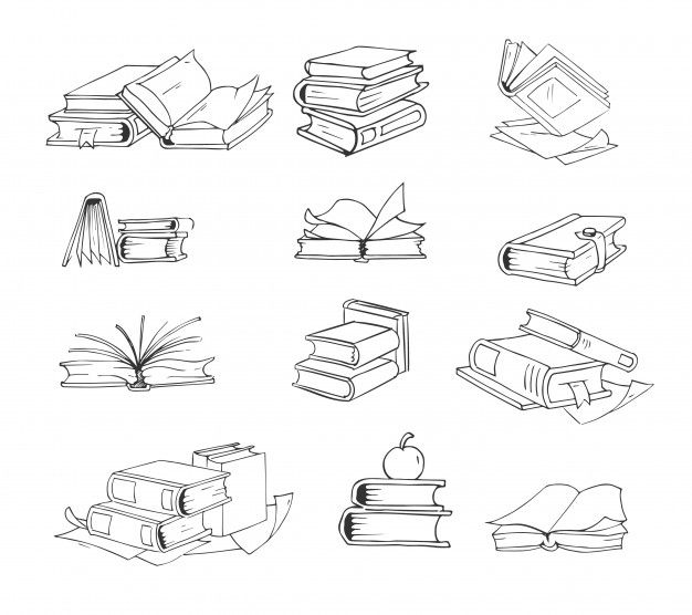 Doodle, Hand Drawn Sketch Books Vector Set.
