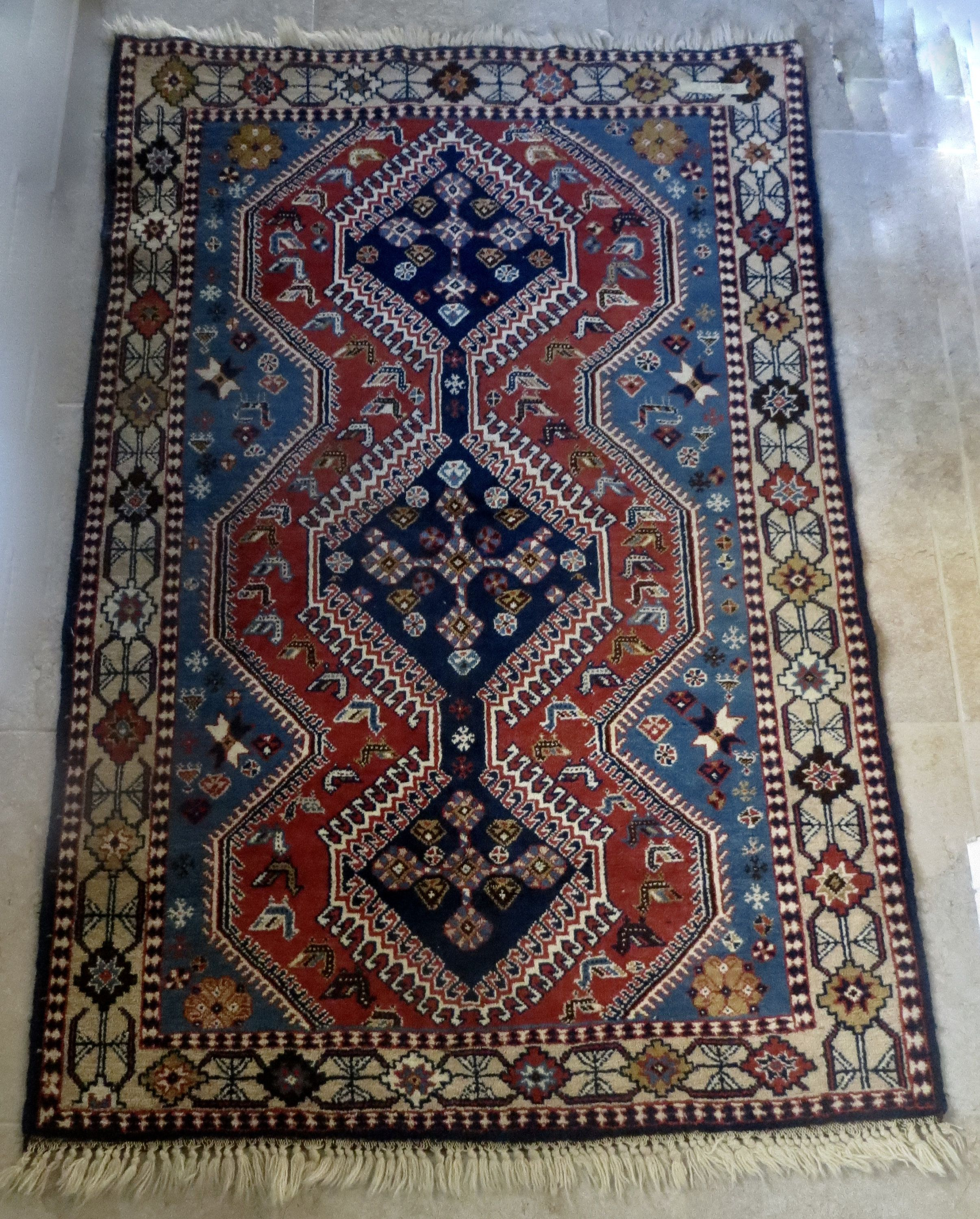 Antique Blue Red Beige Geometric Pattern Authentic Persian Small