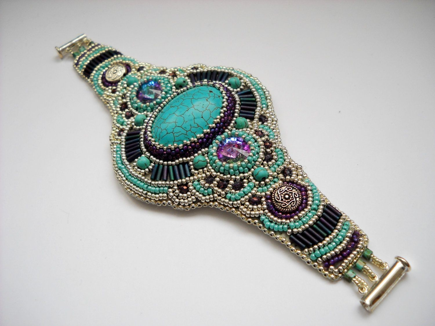 Girly cuff bead embroidery bracelet with turquoise