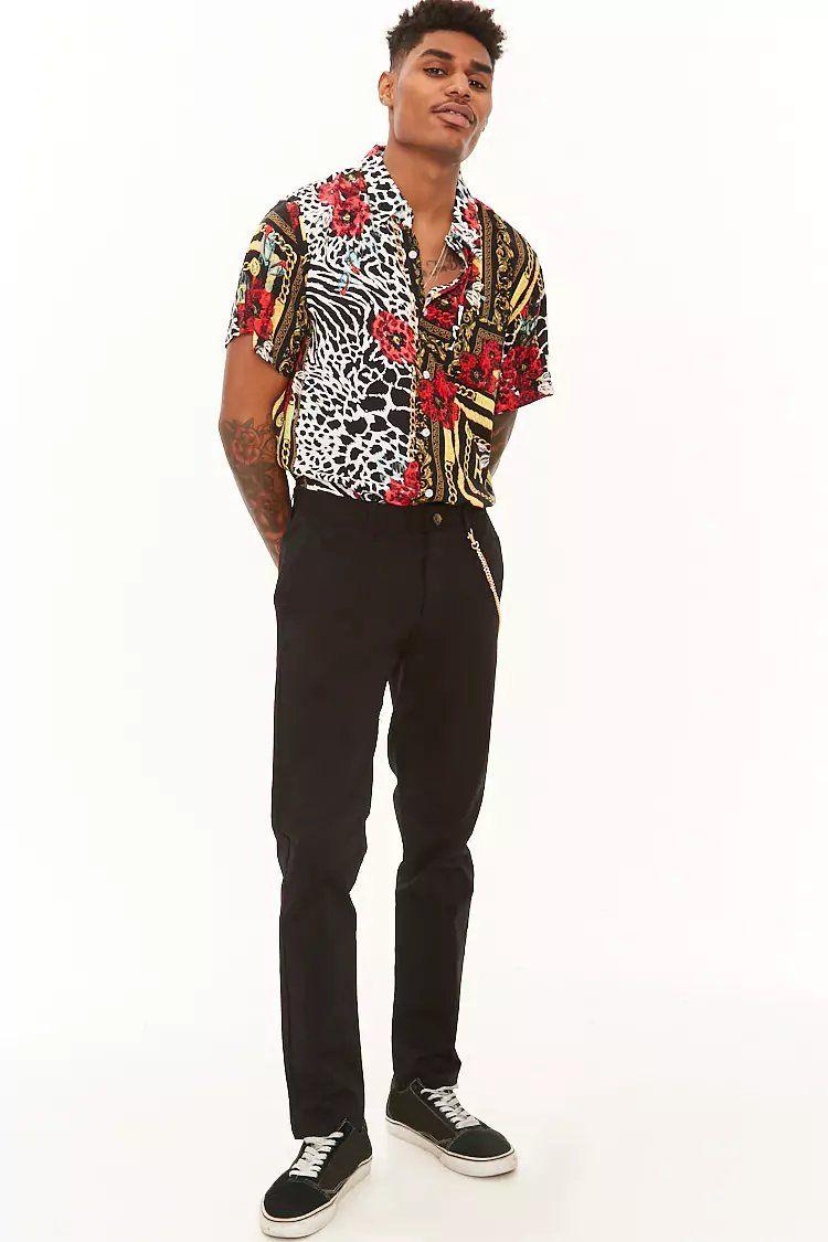 Reason Mixed Print Button Shirt  49b7c1815