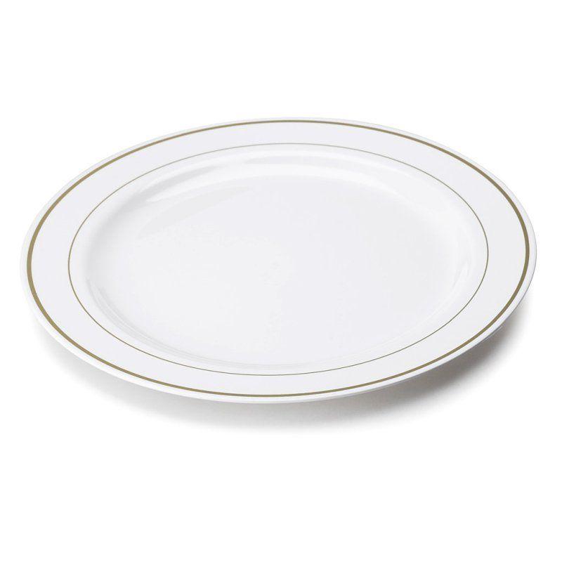 Grande Assiette Plastique Rigide Blanche Liseré Or (26Cm) | Deco