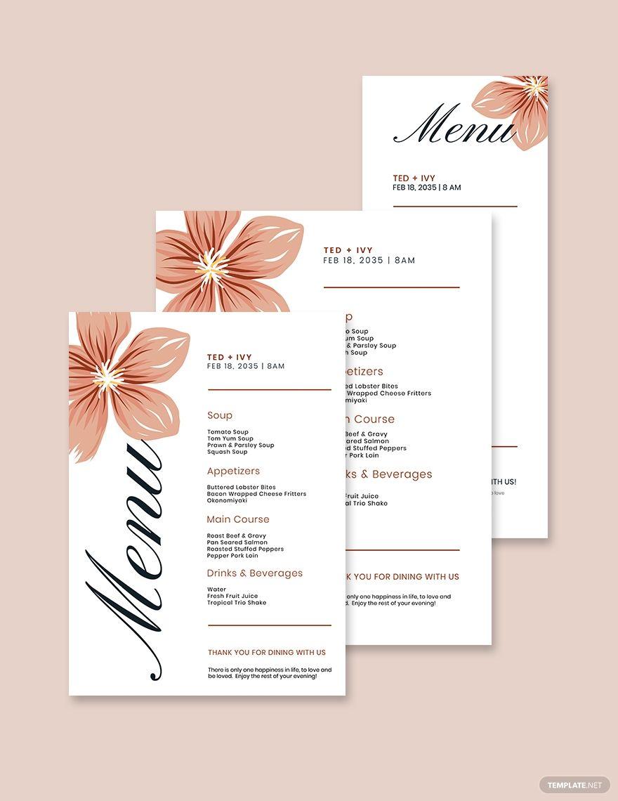 Formal Wedding Menu Template Ad Ad Wedding Formal Template Menu In 2020 Wedding Menu Template Menu Card Template Wedding Menu