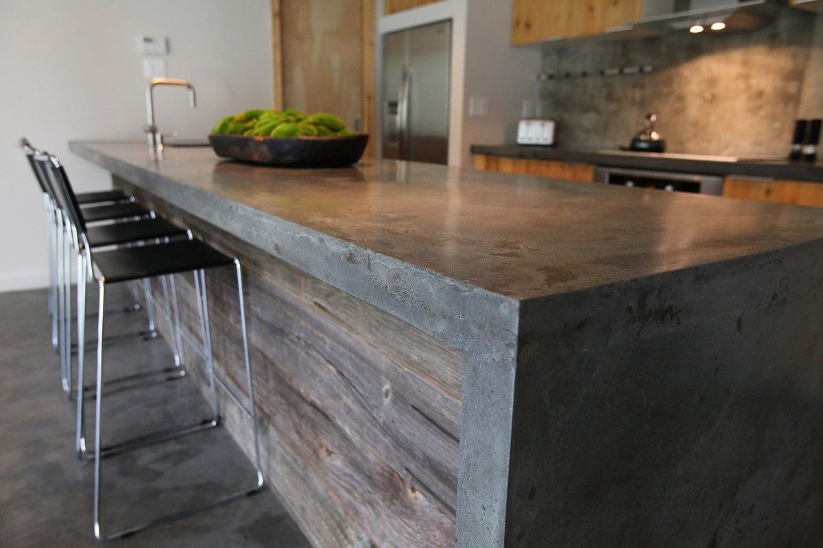 concrete kitchen island concrete island with barnwood i no idea how i can 2430