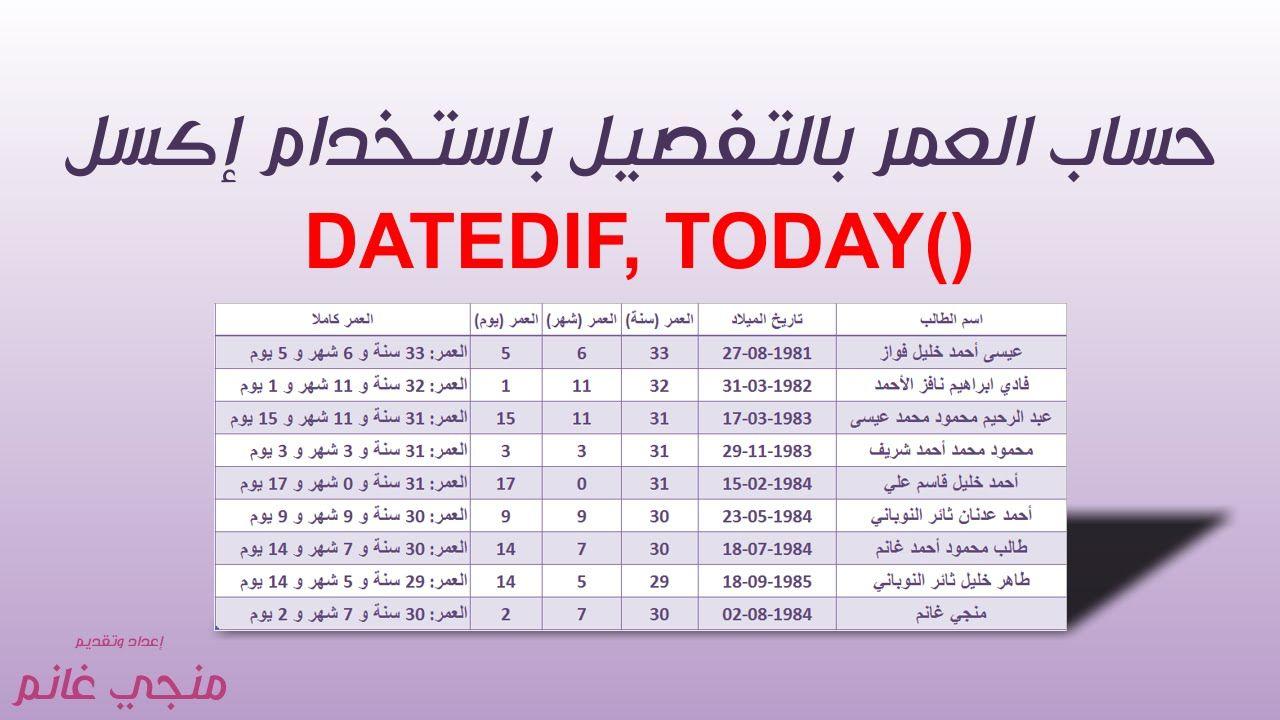 سلسلة إكسل للمعلمين ح16 حساب العمر باليوم والشهر والسنة بالتفصيل Periodic Table