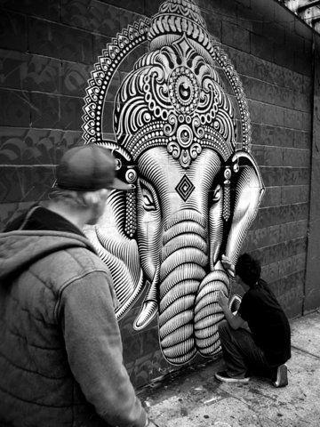 elephant on a wall