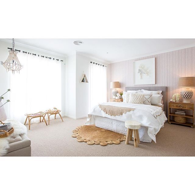 """@carlislehomes's photo: """"We had a great opening this past weekend at Highgrove Estate, Newbridge Boulevard in Clyde North. Come in and say Hi and see these gorgeous four homes for yourself. Pictured is the Master Suite inside our Embleton. #carlislehomes #spaceswelove #displayhome #displayhomes #interiors #interiordesign #interiorinspo #design #designinspo #designer #bedroom #bedroominspo #openingsoon #newhome #bedlinen #wallpaper #boho #bohointeriors #sneakpeek #feather #headdress…"""
