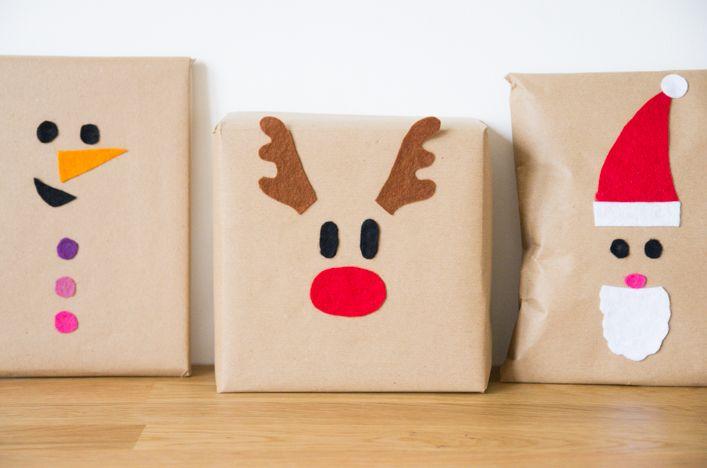 diy paquets cadeaux noel feutrine colores enfant renne. Black Bedroom Furniture Sets. Home Design Ideas
