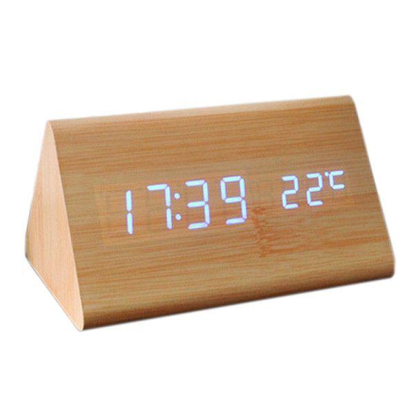 Useful Voice Control Calendar Thermometer E Wood Wooden Led Digital Alarm Clock Usb Aaa Bamboo Wood Blue Led Alarm Clock Digital Alarm Clock