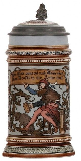 Image detail for -Mettlach stein, No. 1947 showing a beaked wooden stein to the ...