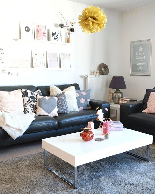 unser wohnzimmer mit neuen farbtupfern. | rosa grau, kupfer und rosa