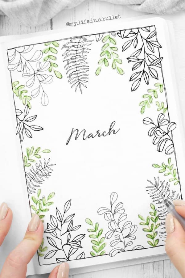 Bullet Journal Monthly Cover Ideas For March 2020 - Crazy Laura #bulletjournaljanvier