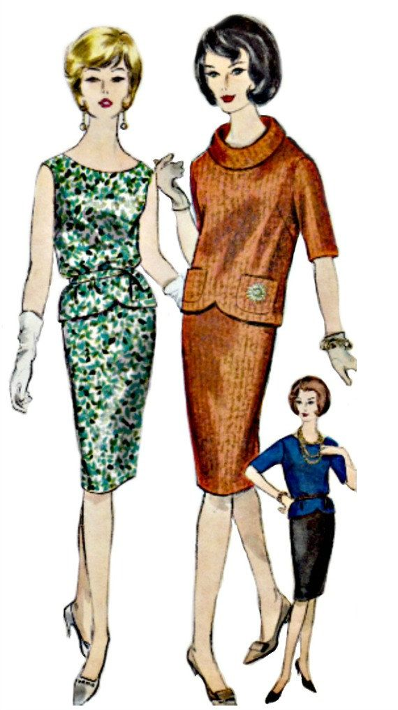 1960s Roll Collar Dress Pattern VOGUE 5312 Jackie Kennedy