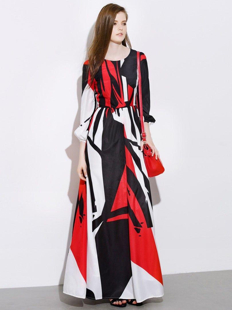 Multicolor,Printed,Long Sleeve,Empire,Maxi Dress
