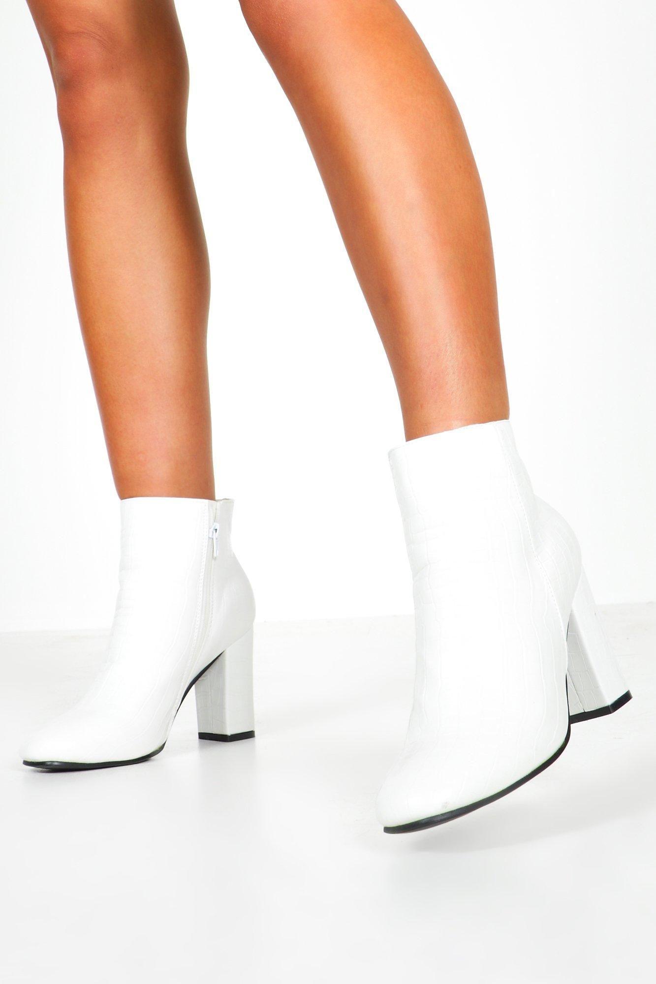 Croc Patent Block Heel Shoe Boots | boohoo