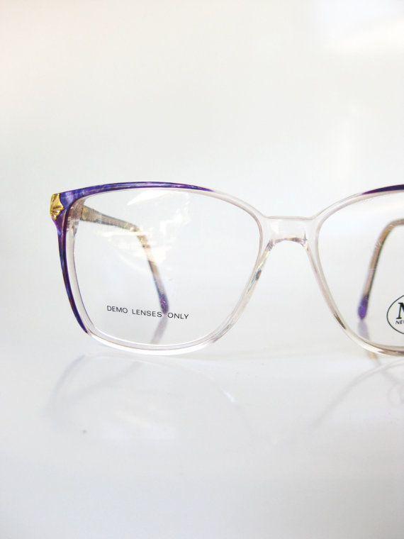 d78eaeb593a Vintage Purple Eyeglasses 1980s Eyeglass Frames Lilac Lavender Royal Gold  Metallic Girls Teens Ladies 80s Eighties Wayfarer Geek Chic