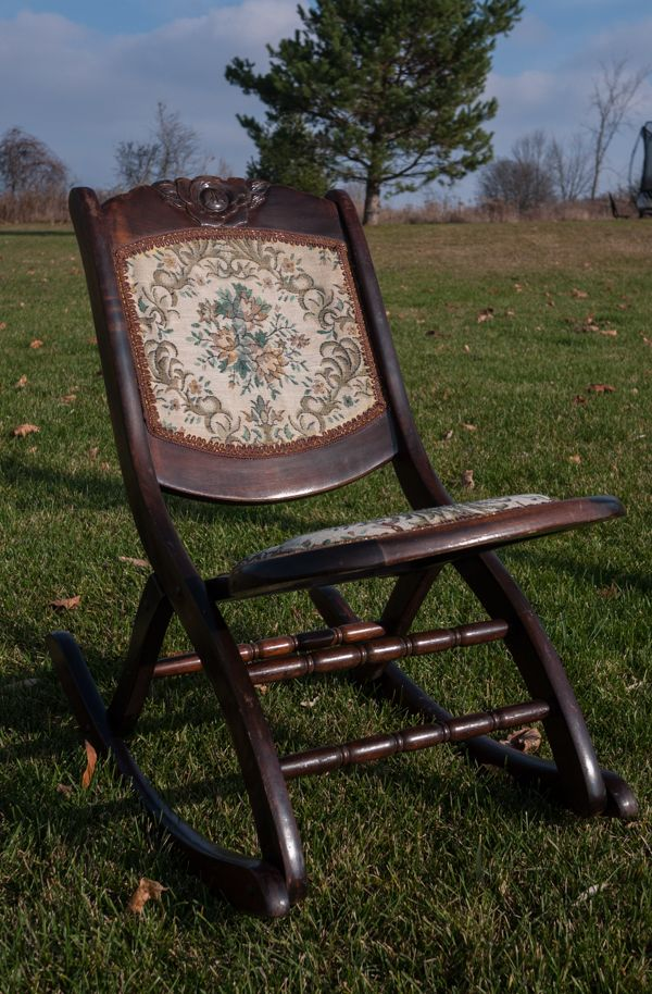 Early 20th Century Folding Rocker/Nursing Chair Historically, Folding Chairs  Were Used To Seat
