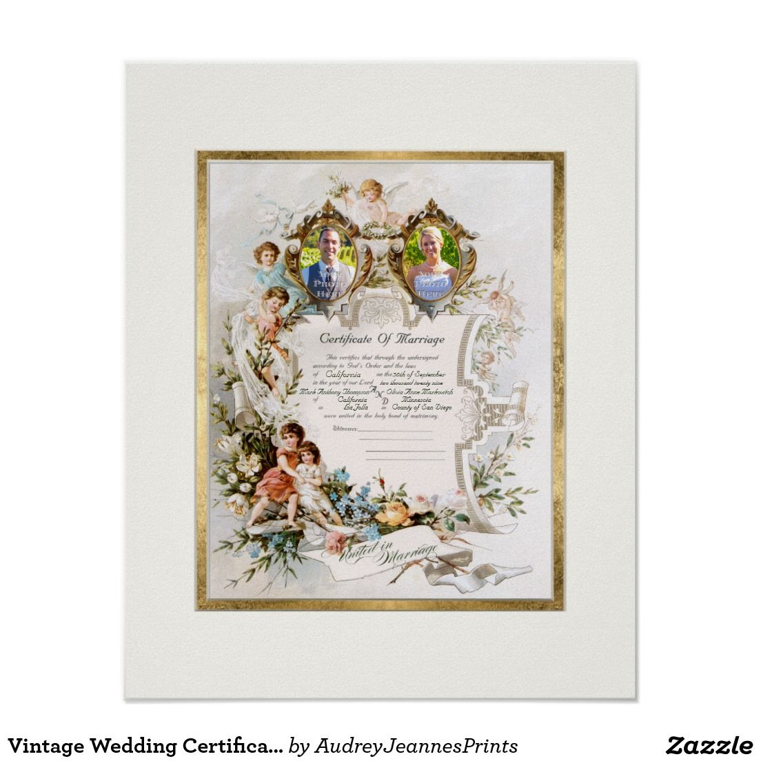 2475 Vintage Wedding Certificate Of Marriage Photograph