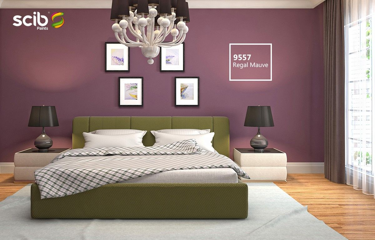 An Interior Design Filled With Regal Mauve 9557 Beside Modern Styled Bed And Two White Side Tables Bedroom Interior Room Ideas Bedroom Room Painting Bedroom