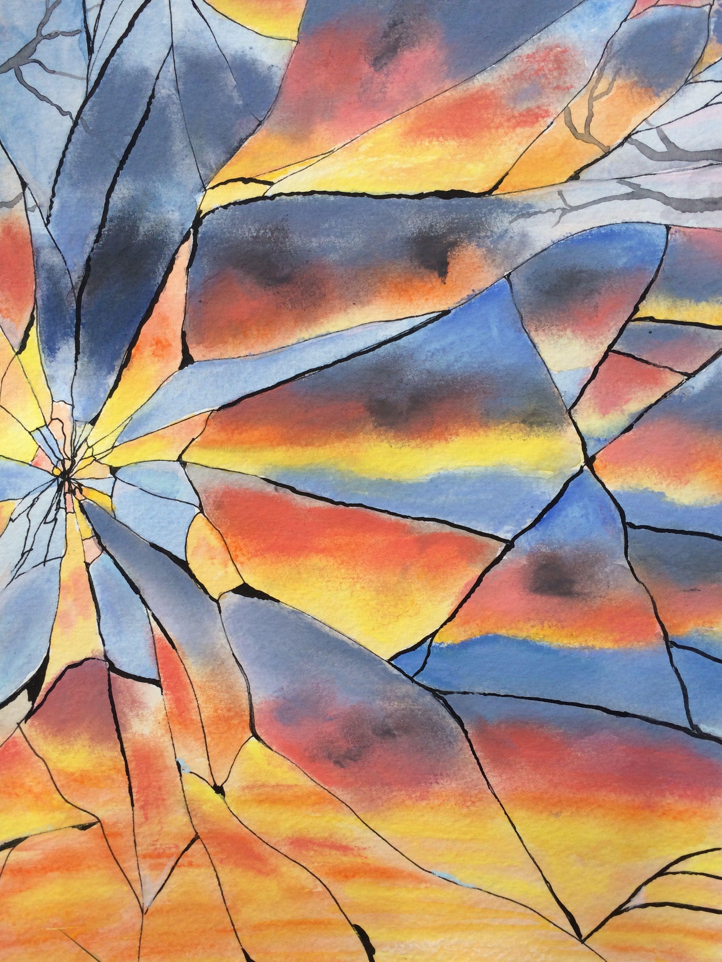 Broken mirror sunset 서양 미술 미적 사진 초현실주의