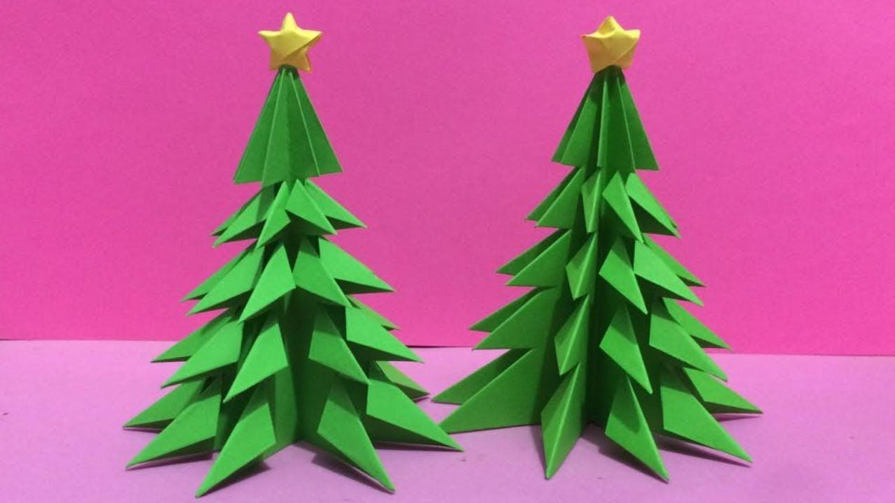 How To Make 3d Paper Christmas Tree Making Paper Xmas Tree Step By Ste Christmas Tree Paper Craft Paper Crafts Diy Paper Christmas Tree