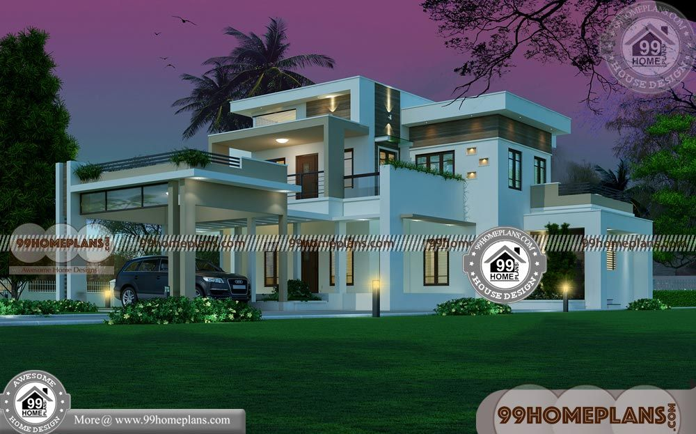 South Indian Home Plans With 3d Double Storey House Plans Having 2 Floor 3 Total Bedroom 4 Total Ba Double Storey House Plans House Plans Duplex House Design