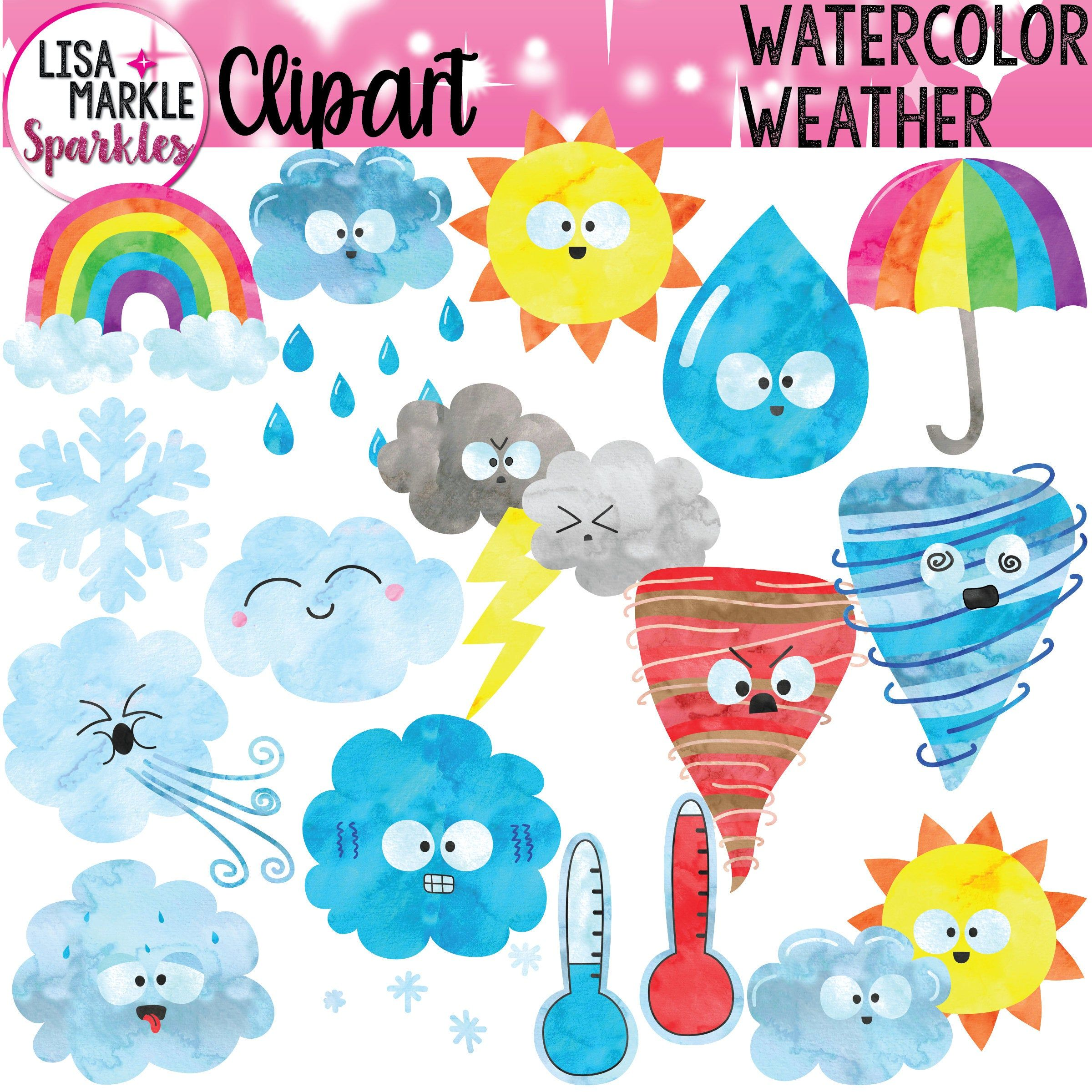Weather Clipart Watercolor Weather Clipart Etsy Weather Clipart Clip Art Etsy Artwork
