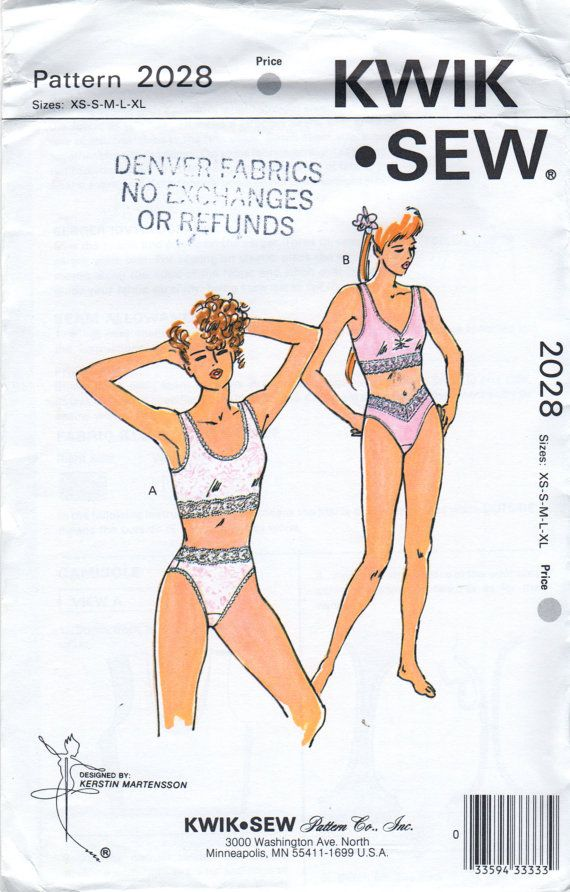 878a4e042636 Kwik Sew 2028 Misses Lingerie Camisole Bra Top and High Cut Panties womens sewing  pattern by mbchills