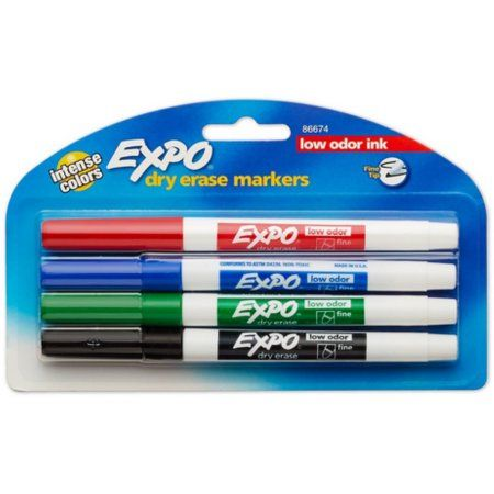 Expo Low Odor Dry Erase Markers Fine Tip Primary Colors 4 Count Walmart Com In 2021 Dry Erase Markers Dry Erase Dry Erase Board