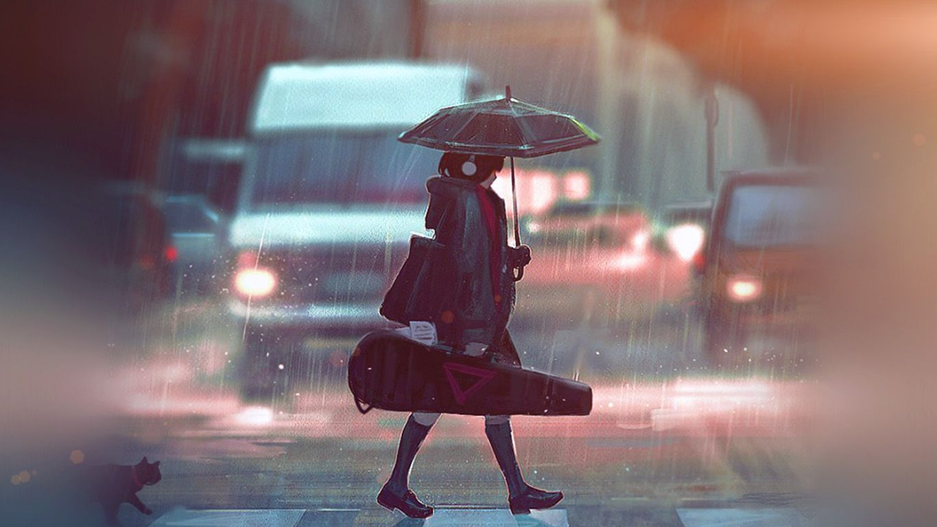 Desktop Wallpaper Laptop Mac Macbook Air Bc90 Rainy Day Anime Paint Girl Art Illustration Flare