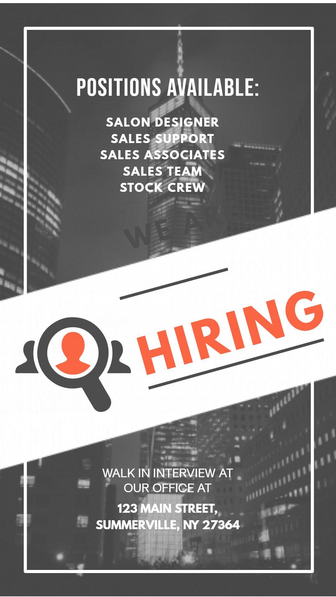 Job hiring bw instagram story ad template instagram