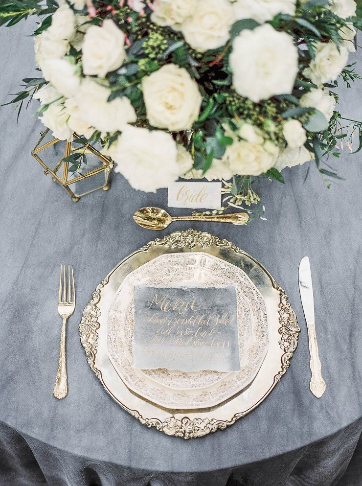 Wedding Place setting + charcoal + gold calligraphy wedding menu | itakeyou.co.uk