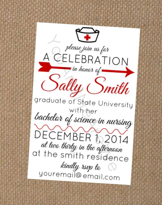 nursing school graduation party invitation also with matching food
