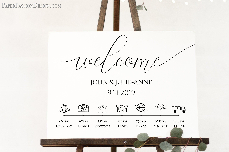 Wedding Day Welcome Timeline Sign Printable Wedding Day