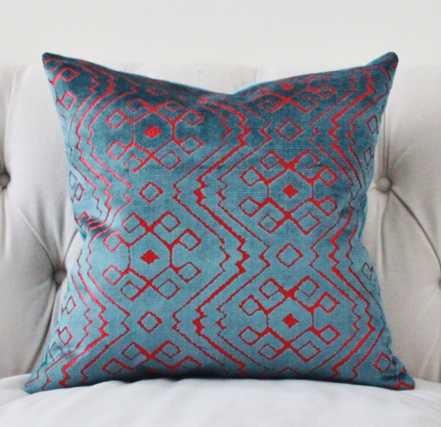 modern geometric pillow cover  teal blue pink velvet pillow cover  - modern geometric pillow cover  teal blue pink velvet pillow cover  aztectribal blue pillow  teal throw pillow  graphic pillow  rubelli
