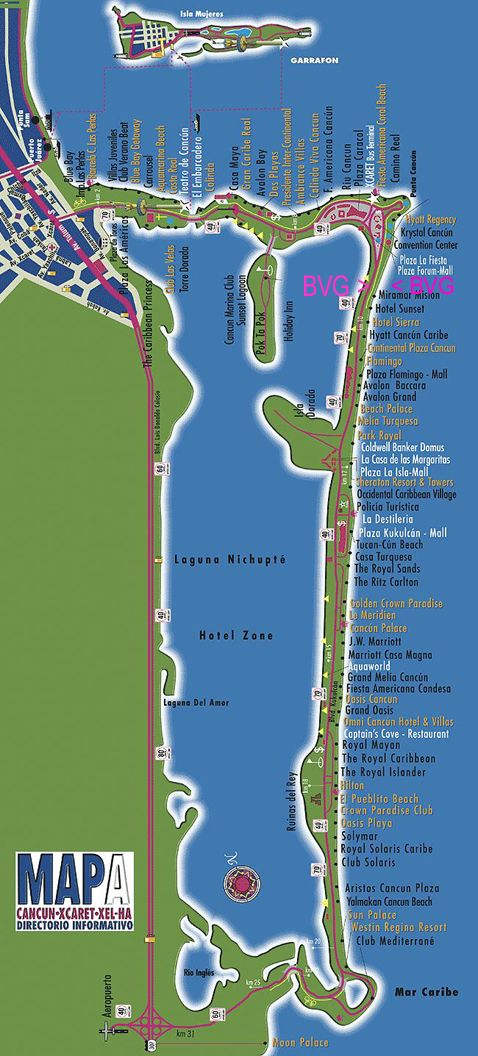 map of the famous Cancun Hotel Zone  Mexico  Pinterest  Cancun