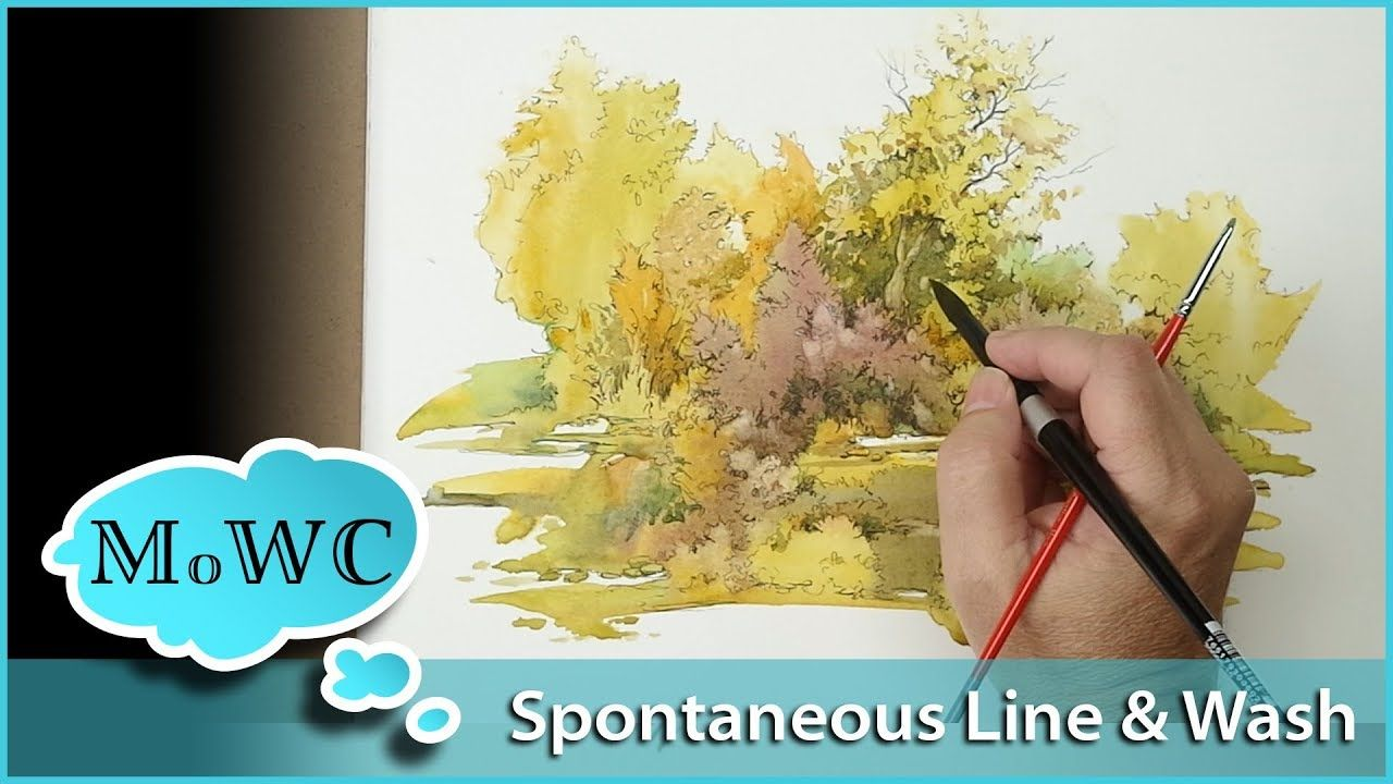 Spontaneous Painting Ink Line Over Wash Inktober Youtube